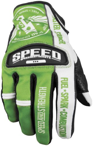 Speed and Strength Top Dead Center Mens GreenWhite LeatherMesh Gloves - Small