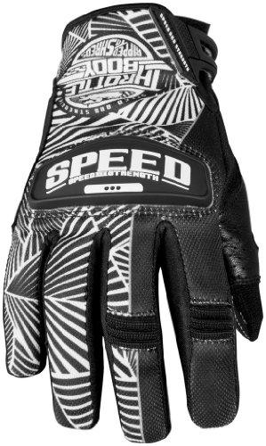Speed and Strength Womens Throttle Body Leather Mesh Gloves 2013 Black White MMedium