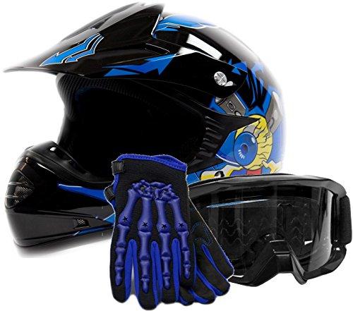 Youth Offroad Gear Combo Helmet Gloves Goggles DOT Motocross ATV Dirt Bike Blue Black Crazy Eye X-Large