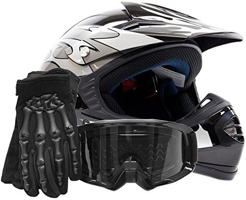 Youth Offroad Gear Combo Helmet Gloves Goggles DOT Motocross ATV Dirt Bike Motorcycle Silver Black - Medium