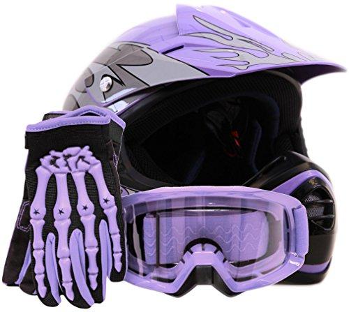Youth Offroad Gear Combo Helmet Gloves Goggles DOT Motocross ATV Dirt Bike MX Motorcycle Purple - Large