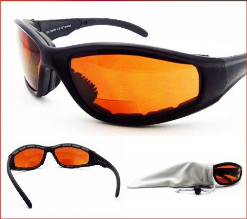 Blue Blocking Hd Vision Motorcycle Bifocal Sunglasses Padded 2.00 For Men & Women. Ansi Z87.1 Safety Lens & Microfiber