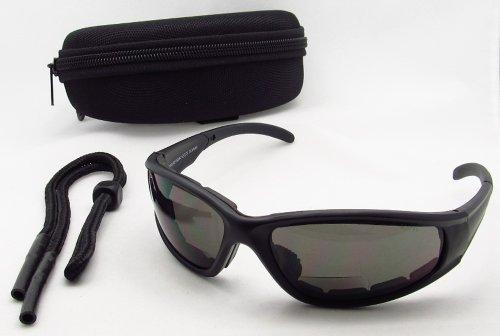 Motorcycle Biker Bifocals 2.00 For Men & Women, Ansi Z87.1 Polycarbonate Safety Smoke Lens - Free Hard Case And