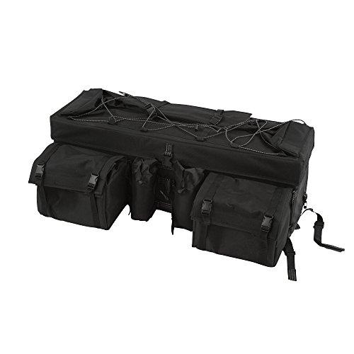 Black Atv Cargo Rear Rack Gear Bag With Topside Bungee Tie-down Storage