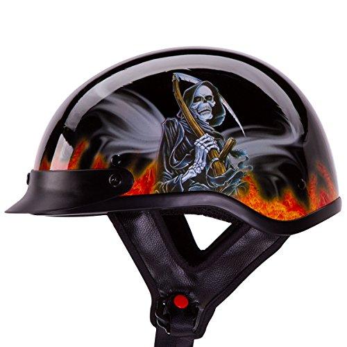 IV2 REAPER Chopper Cruiser Beanie Half Helmet MatteFlat Black Motorcycle Helmet DOT L