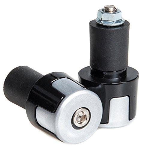 "Tdh Anti-vibration Aluminium Alloy 7/8"" Handle Bar Ends With Diameter 17mm Rubber Plugs, Silver"