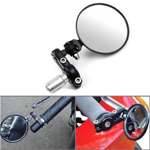 "Universal 3"" Cnc Black 2 Adjustable Round Motorcycle Scooter Atv Dirt Bike Bar End Side Mirrors For Honda Kawasaki"