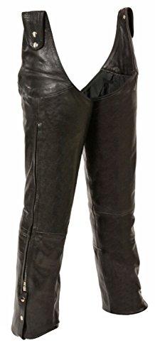 Mens Leather Beltless Adjustable Side Snap Chaps Black Size 3XL