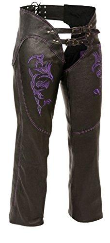 Milwaukee Womens Leather Chaps BlackPurple XX-Large