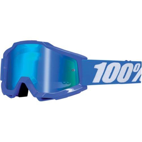100 Accuri Mens Dirt Bike Motorcycle Goggles Eyewear - BlueReflex BlueMirror Blue  One Size