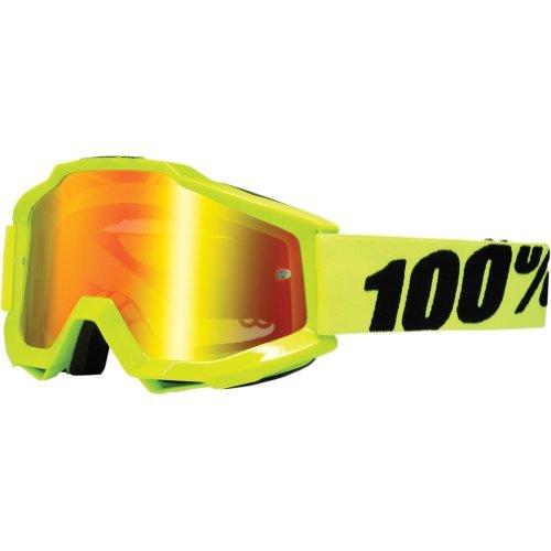 100 Accuri Mens Dirt Bike Motorcycle Goggles Eyewear - Fluo YellowFluorescent YellowMirror Red  One Size