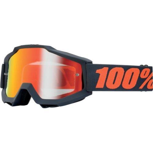 100 Accuri Mens Dirt Bike Motorcycle Goggles Eyewear - GunmetalGrayOrangeMirror Red  One Size