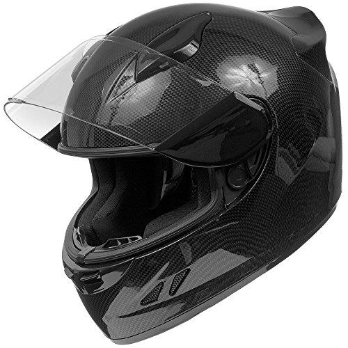 KOI DOT Motorcycle Helmet Full Face KOI Gloss Carbon Fiber w Clear Visor - Medium