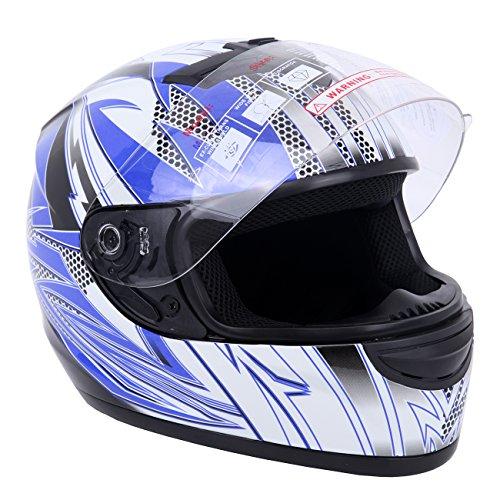 PanelTech Blue Full Face Adult Helmet for Motorcycle Street Bike Carbon Fiber L