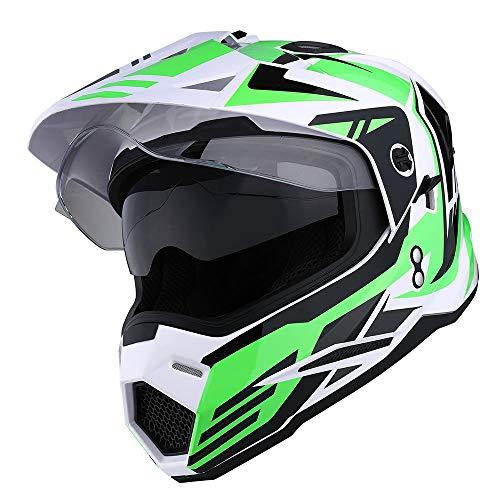 1Storm Dual Sport Motorcycle Motocross Off Road Full Face Helmet Dual Visor Storm Force Green Size Medium