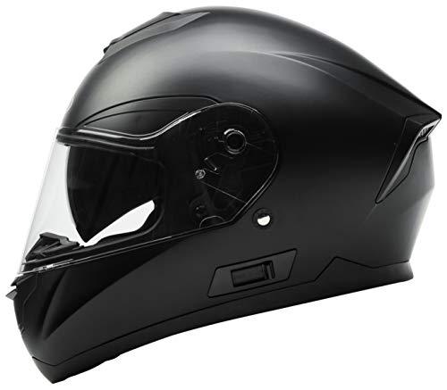 Motorcycle Full Face Helmet DOT Approved - YEMA YM-831 Motorbike Street Bike Racing Crash Helmet with Sun Visor for Adult Men and Women - Matte BlackMedium