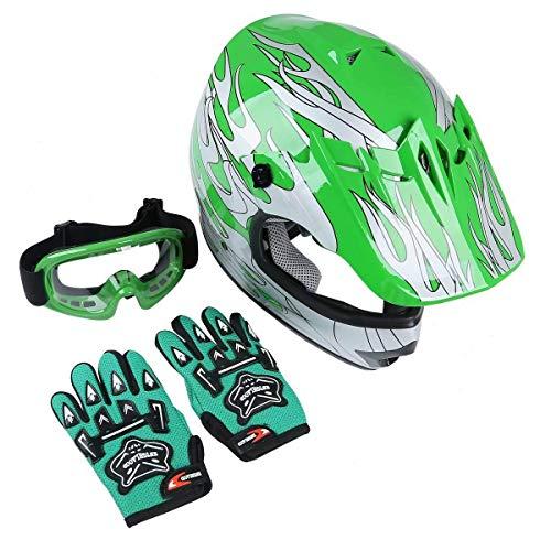TCT-MT DOT Youth Kids Helmet wGogglesGloves Motocross Green Flame Dirt Bike Full Face Helmet Offroad ATV HelmetsGloves Goggles Motobike S~XL Large
