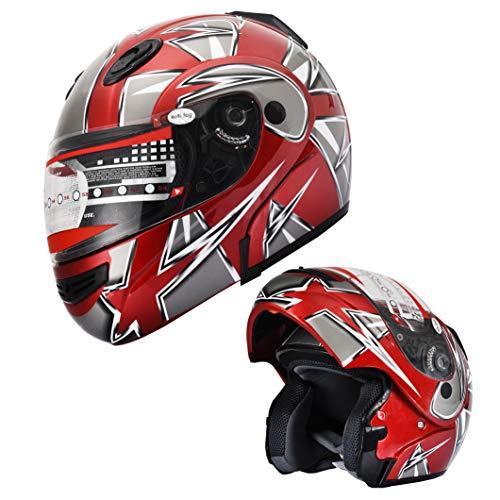 X4 Motorcycle Helmet Adult DOT Modular Flip up Full Face Sports Bike Snowmobile Helmet with Anti Fog Shield 235 Red L