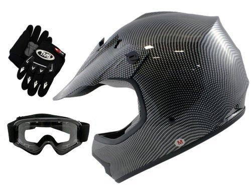 TMS Youth Kids Carbon Fiber Graphics Motorcross Motocross Off Road ATV Helmet w Goggles Gloves