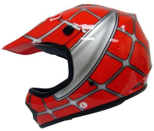Youth Child Kids Red Spider Net Dirt Bike Motocross MX Dirt Bike ATV Off-Road Helmet DOT Large