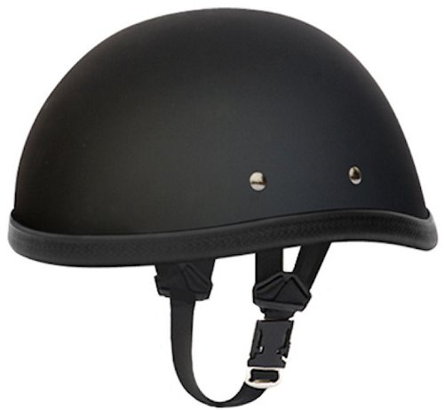Daytona Eagle Flat Black Skull Cap Novelty Motorcycle Helmet Large