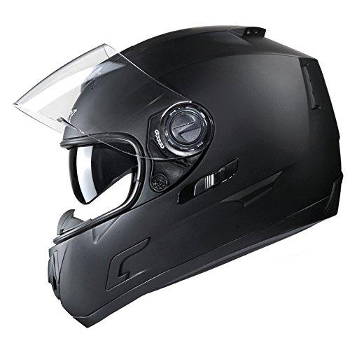 GLX Unisex-Adult GX15 Lightweight Full Face Motorcycle Street Bike Helmet with Internal Sun Visor DOT Approved Matte Black Large