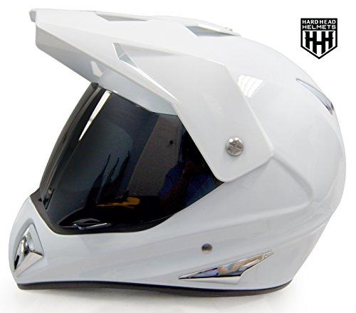 SmartDealsNow - HHH DOT ADULT Helmet for Dirtbike ATV Motocross MX Offroad Motorcyle Street bike Snowmobile HELMET with VISOR Large Gloss White
