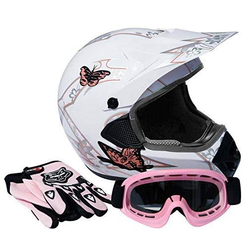 TCT-MT Adult Helmet DOT Goggles Gloves PinkWhite Butterfly ATV Dirt Bike Helmet Motocross Motorbike Helmet wGloves Goggles X-Large