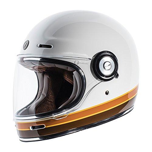 TORC T1 Unisex-Adult Retro Full face Motorcycle Helmet ISO Bars Gloss White Small