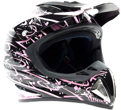 Typhoon Adult Womens Dirt Bike Helmet ATV Off Road Motocross Motorcycle - Pink Black Large