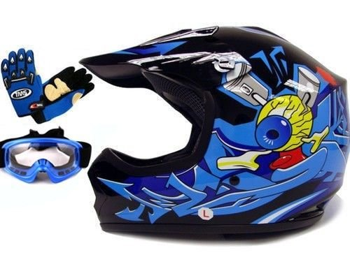 TMS Youth Kids BlackBlue Punk Dirt Bike Atv Motocross Helmet Mxgogglesgloves Large