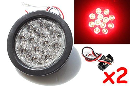2 Red 4 Round LED BrakeStopTurnTail Light Kit with Grommet Plug Clear Lens KL-25108C-RK