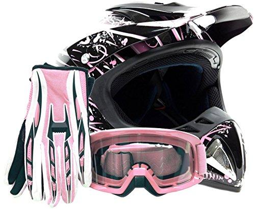 Adult Offroad Helmet Goggles Gloves Gear Combo DOT Motocross ATV Dirt Bike MX Pink Splatter  XL
