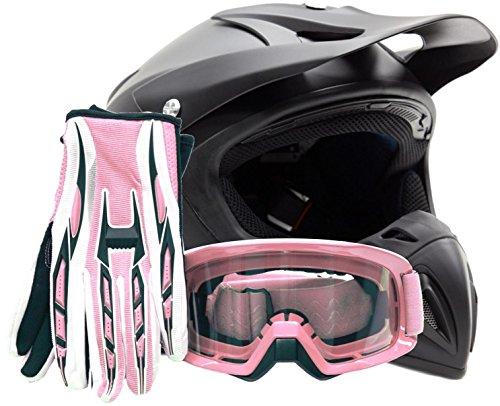Mens Womens Offroad Helmet Goggles Gloves Gear Combo DOT Motocross ATV Dirt Bike Pink Flat Matte Black  Small
