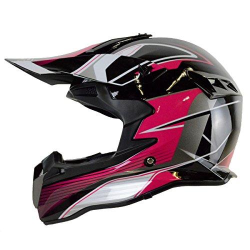 PGR SX22 MAGNUS Adult MX Motocross ATV Dirt Bike Quads Rackus Enduro Downhill DOT Helmet Medium Black Hot Pink