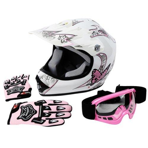 TCMT Dot Youth Kids Motocross Offroad Street Helmet Pink Butterfly Motorcycle Helmet White Dirt Bike Dirt Bike HelmetGogglesgloves M