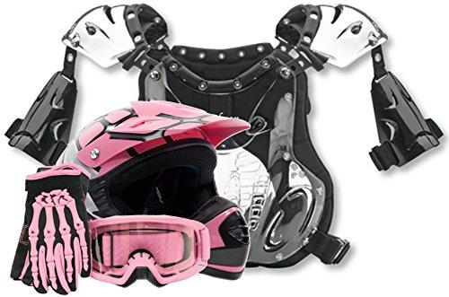 Youth Offroad Helmet Gloves Goggles Chest Protector GEAR COMBO Motocross ATV Dirt Bike MX Spiderman Pink  Medium