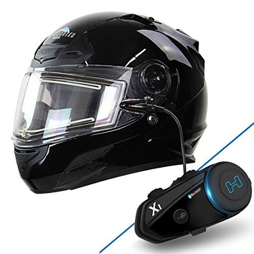 Snow Master TS-44 Black Full Face Snowmobile Helmet with X-1 Black Blue Tooth S - Medium w X1 Bluetooth