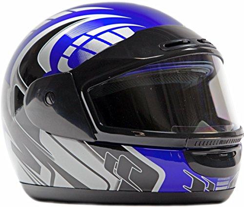 Typhoon Helmets Adult Snowmobile Helmet Mens Womens Full Face Dual Lens Anti Fog - Blue Small