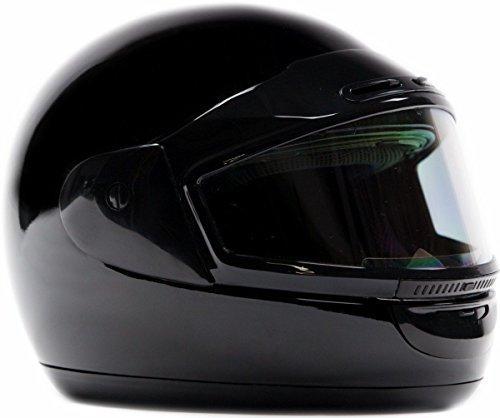 Typhoon Helmets Adult Snowmobile Helmet Mens Womens Full Face Dual Lens Anti Fog - Gloss Black Small