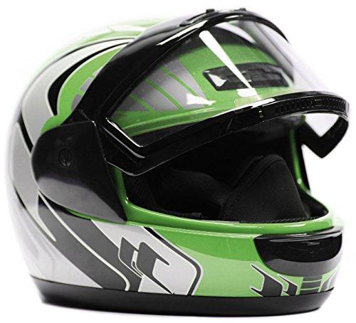 Typhoon Helmets Adult Snowmobile Helmet Mens Womens Full Face Dual Lens Anti Fog - Green XXX-Large