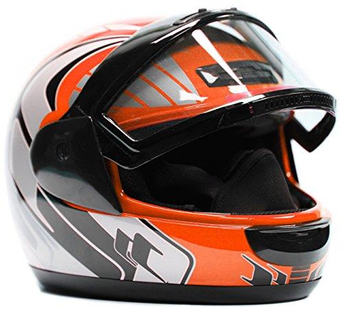 Typhoon Helmets Adult Snowmobile Helmet Mens Womens Full Face Dual Lens Anti Fog - Orange Small
