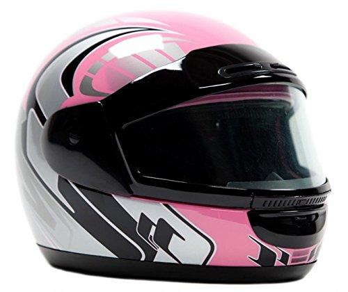 Typhoon Helmets Adult Snowmobile Helmet Mens Womens Full Face Dual Lens Anti Fog - Pink  XXXL