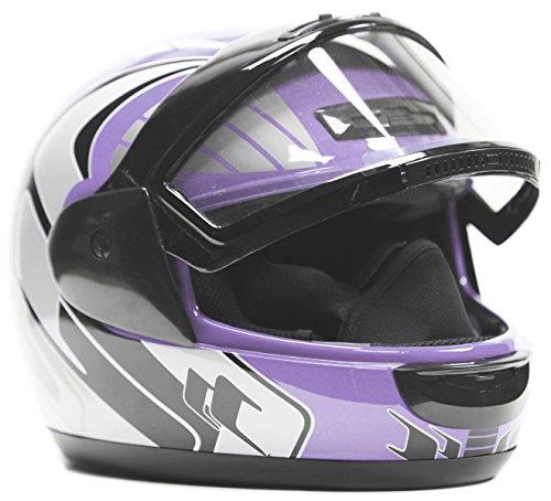 Typhoon Helmets Adult Snowmobile Helmet Mens Womens Full Face Dual Lens Anti Fog - Purple Small