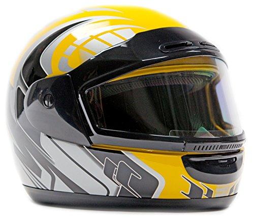 Typhoon Helmets Adult Snowmobile Helmet Mens Womens Full Face Dual Lens Anti Fog - Yellow Medium