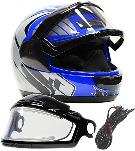 Typhoon Helmets Adult Snowmobile Helmet with Electric Heated Shield Mens Womens Full Face Dual Lens - Blue  Medium