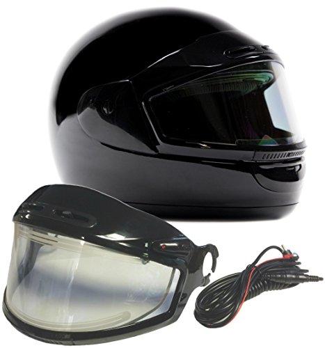 Typhoon Helmets Adult Snowmobile Helmet with Electric Heated Shield Mens Womens Full Face Dual Lens - Gloss Black  XL