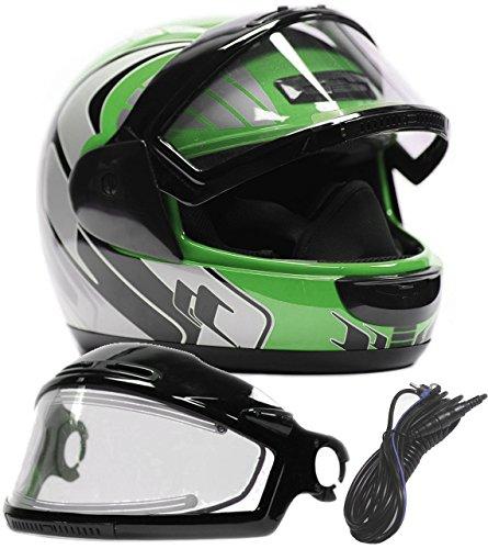 Typhoon Helmets Adult Snowmobile Helmet with Electric Heated Shield Mens Womens Full Face Dual Lens - Green  Medium