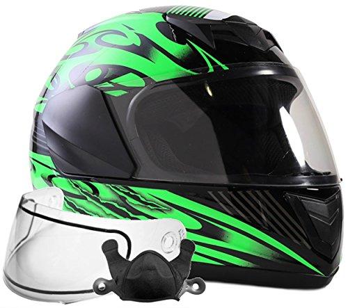 Typhoon Helmets Youth Kids Full Face Snowmobile Helmet DOT Dual Lens Snow Boys Girls - Green  XL