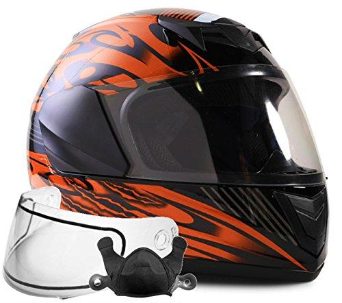 Typhoon Helmets Youth Kids Full Face Snowmobile Helmet DOT Dual Lens Snow Boys Girls -- Orange  Large